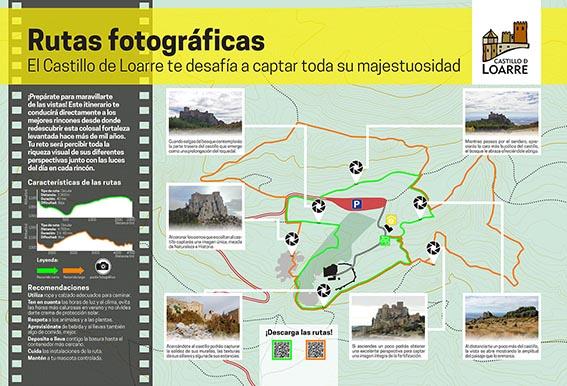 Panel informativo de la ruta fotográfica del Castillo de Loarre