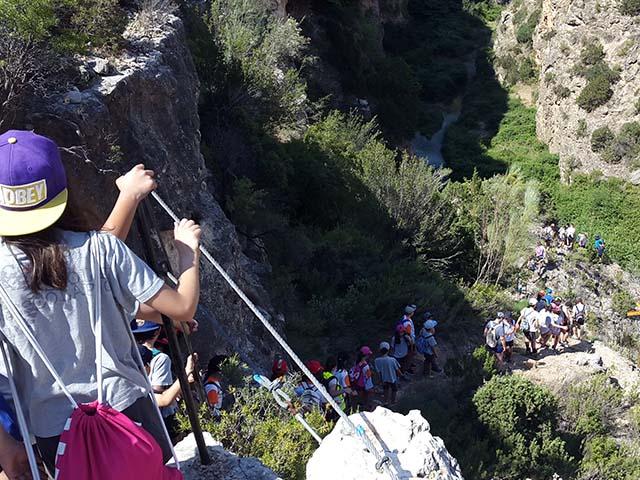 actividad senderista en los estrechos de Albalate, Teruel