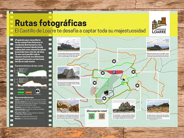 Cartel informativo de la ruta fotográfica del castillo de Loarre en Huesca, Aragón