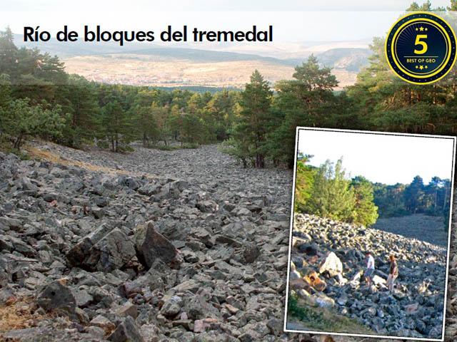 Vista del punto de interés geológico del Río de bloques del Tremedal en Orihuela, Teruel, Aragón
