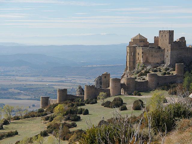 Vista del castillo de Loarre en Huesca, Aragón