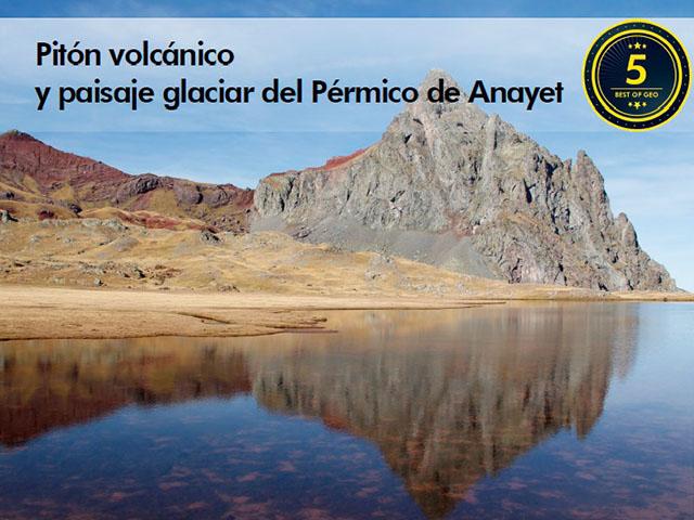 Vista del punto de interés geológico del Pitón volcánico y paisaje glaciar del pérmico de Anayet en Huesca, Aragón