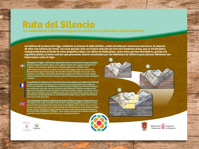 Cartel interpretativo de la ruta del silencio en Valtierra, Navarra