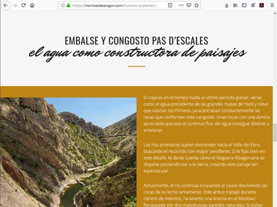 pantallazo de la web Montsec de Aragón con los contenidos Geológicos realizados por Qeteo