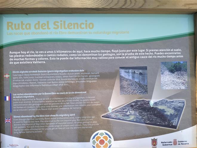Cartel interpretativo sobre el río ebro