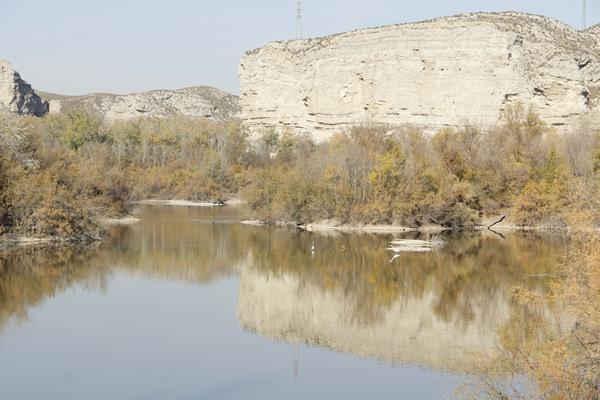 Escarpes de yesos en la ribera del río Ebro