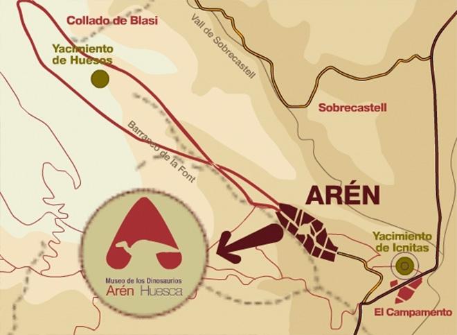 mapa turistico con la ubicación de los yacimientos dinosaurios
