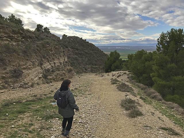 ruta senderista entre yesos en Valtierra Navarra