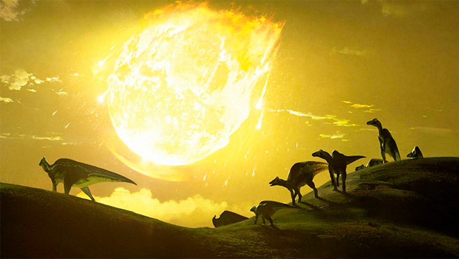 ilustración dinosaurios mientras cae un meteorito