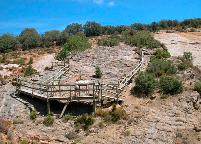 Vista del yacimiento de huesos de dinosaurio en Arén, Huesca